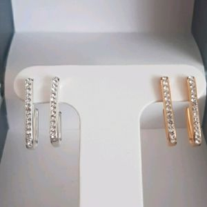 Set Dainty Sparkling Crystal Silver Earrings